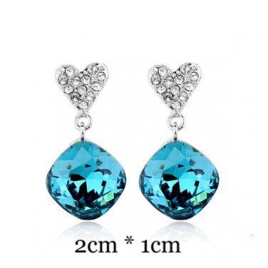 Turquoise Zirconium Heart Earrings