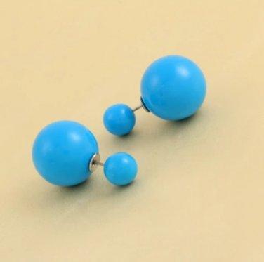 Trendy Double Pearl Earrings CANDY BLUE
