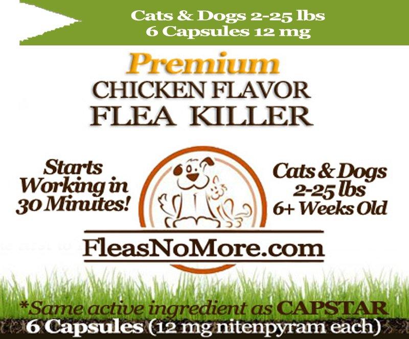 Flea Killer Kills Fleas Cats Dogs Generic CAPSTAR Nitenyram 6 Capsules 12 mg FREE US SHIPPING