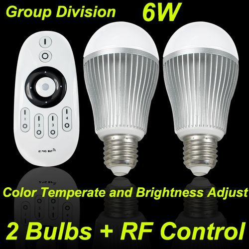 3 x Set of Led Remote Control + 2 Light Bulb, 6W, E27, Dimmble, CCT Changing 3000~6500K