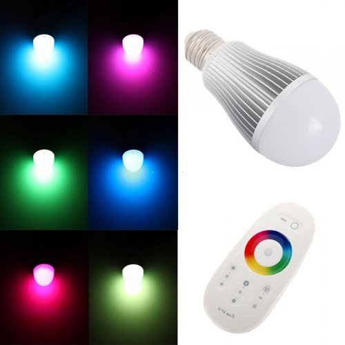 3x Set of Dimmable RGB LED Bulb E26 6W Light With RF Wireless Remote Controller