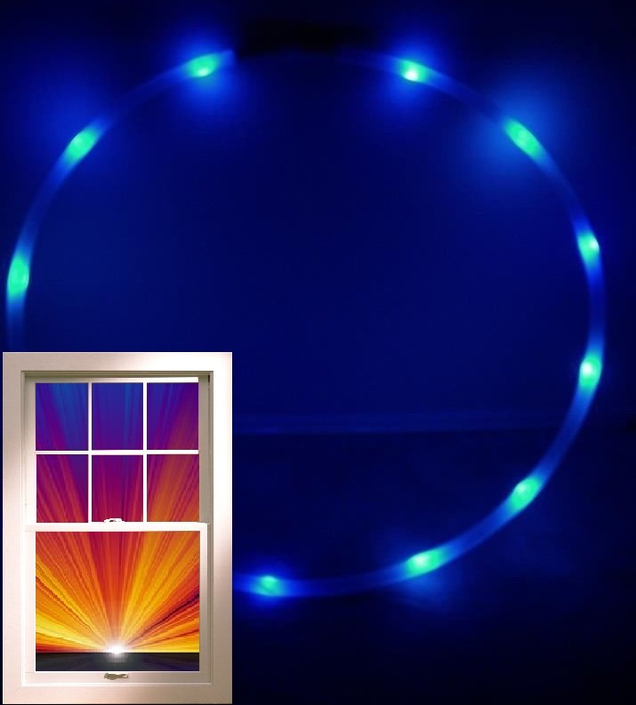 "LED performance Hoop,12ounces .75"" HDPE, 12 Blue Ultra Bright 36"" w Battery/Cha"