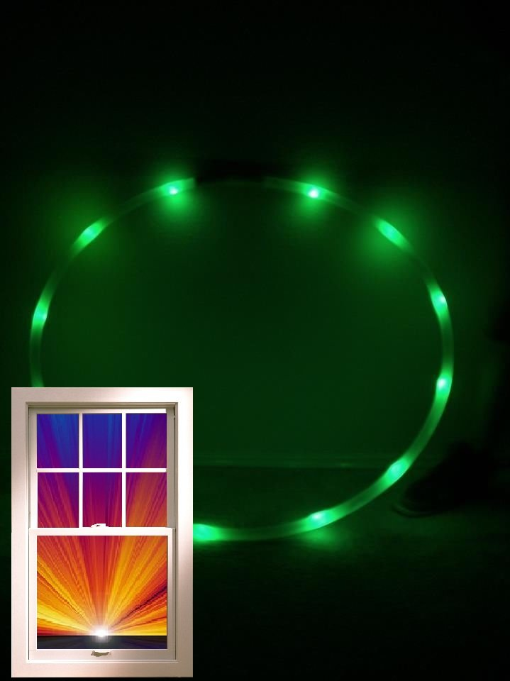"LED performance Hoop, 12oz .75"" HDPE, 12 GREEN Ultra Bright 36"" + Batt & Charger"