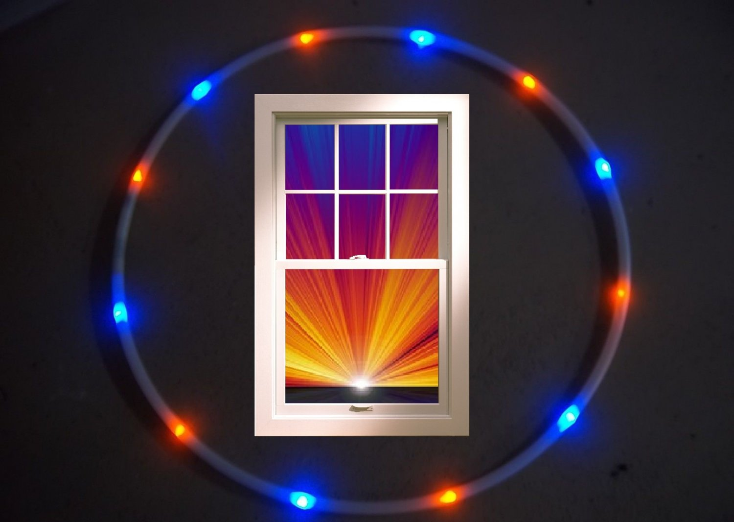 DENVER Orange and blue LED Hula Hoop 36 inches Weighs only 12oz +Battery/charger