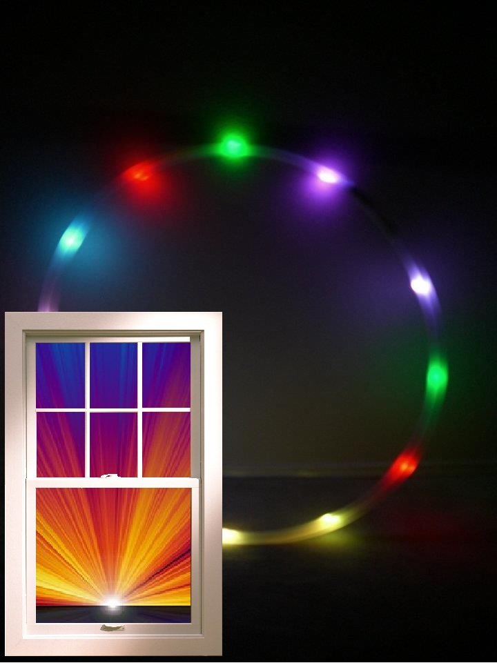 "LED Hula Hoop,12oz .75"" HDPE, 12 RGB Color Changing Slow 36"" + Batt&Charger"