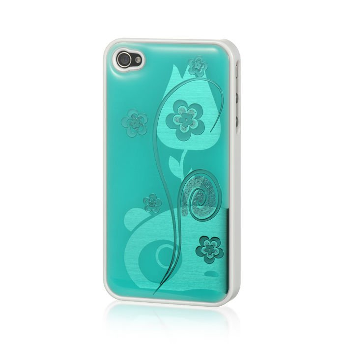 IPHONE® 4S / 4 PLATINUM HARD SNAP CASE COVER LUX JACKET GREEN FLOWER USA HOT!