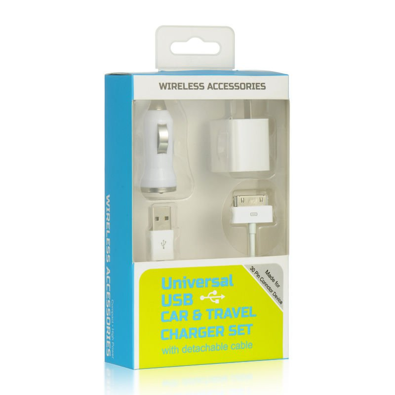 IPHONE 4 / 4S 3 IN 1 CHARGER Usb Charger Sync Iphone Cable 4 Data WHITE USA HOT!