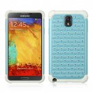 SAMSUNG GALAXY NOTE3 HYBRID STUDDED DIAMOND BLING CASE WHITE SKIN+BLUE PC USA