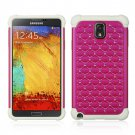 SAMSUNG GALAXY NOTE3 HYBRID STUDDED DIAMOND BLING CASE WHITE SKIN+HOT PINK USA