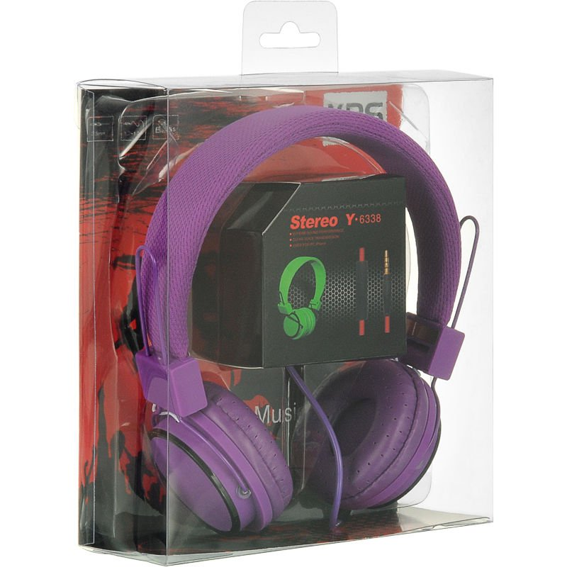 HIGH-END OVER-EAR STEREO HEADPHONE WITH MICTABLET PHONE MP3 LAPTOP  PURPLE USA