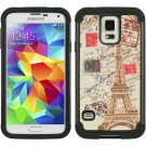 SAMSUNG GALAXY S5 HYBRID CASE BLACK SKIN WITH PC- TRAVEL PARIS SHOCKPROOF USA