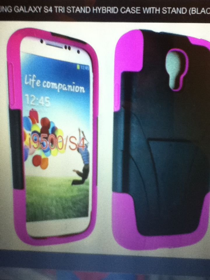Samsung Galaxy S4 Tri Stand Hybrid Case with Stand (Black Pink) Double LayerSlim