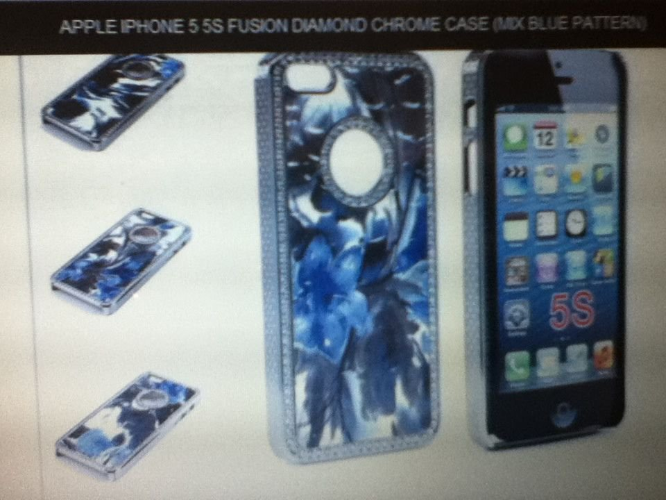 Apple iPhone 5 5S Fusion Diamond Chrome Case Mic Blue pattern Snap-on Luxury
