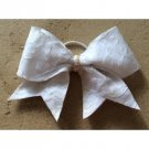 THE INNOCENT - White Floral Roses Lace Sequin Cheer Hair Bow 3 Inch Grosgrain Ribbon Glitter Fabric