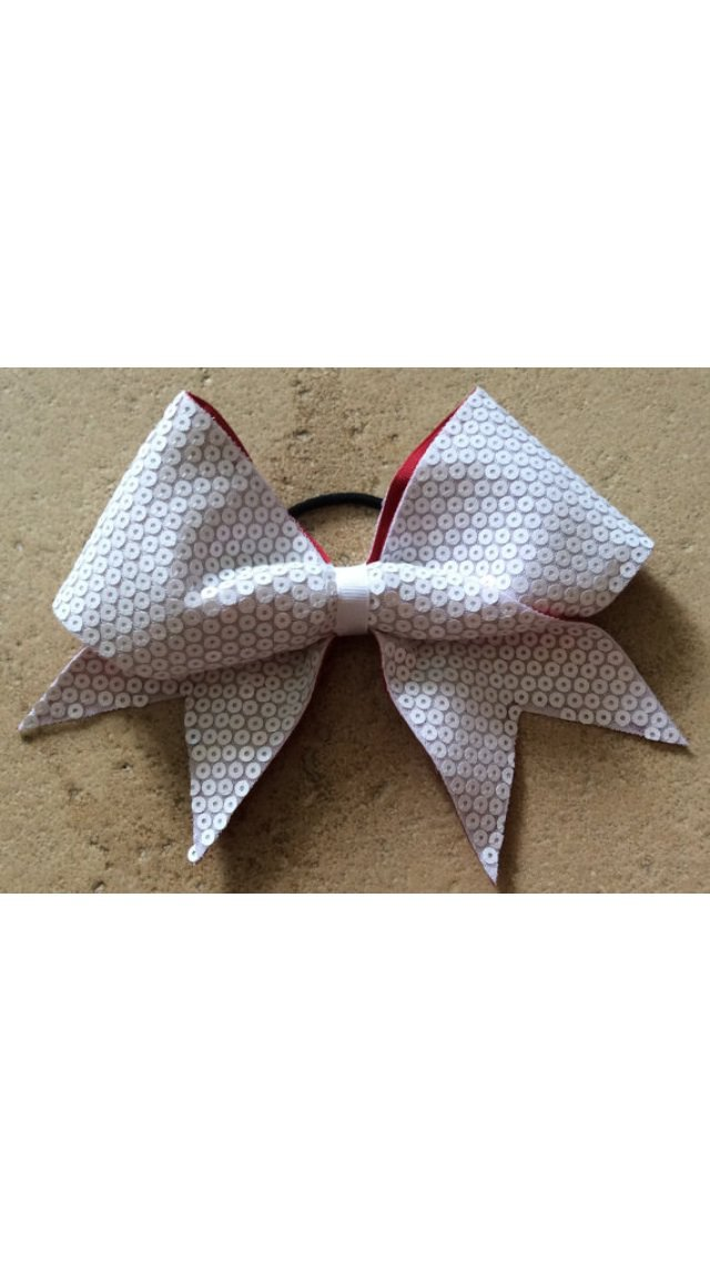 THE GLAMOROUS - White Black Red Sequined Fabric Cheer Hair Bow 3 Inch Grosgrain Ribbon
