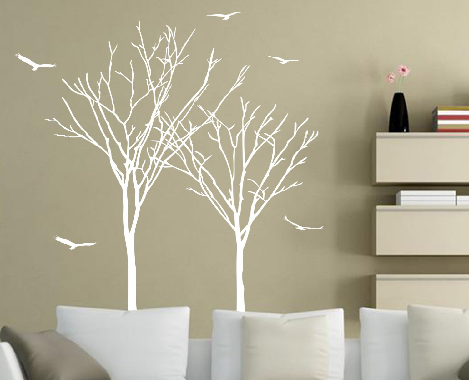 Large Twin Tree Branches & Birds Art Vinyl Wall Sticker, Wall Decal