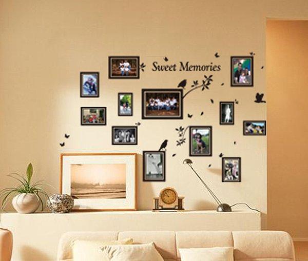 Multi Size Photo Frames with Birds, DIY Wall Art Vinyl Stickers