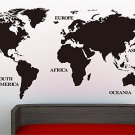 'Large World Map' Wall Art Vinyl Sticker, Home DIY Wall Art Decal