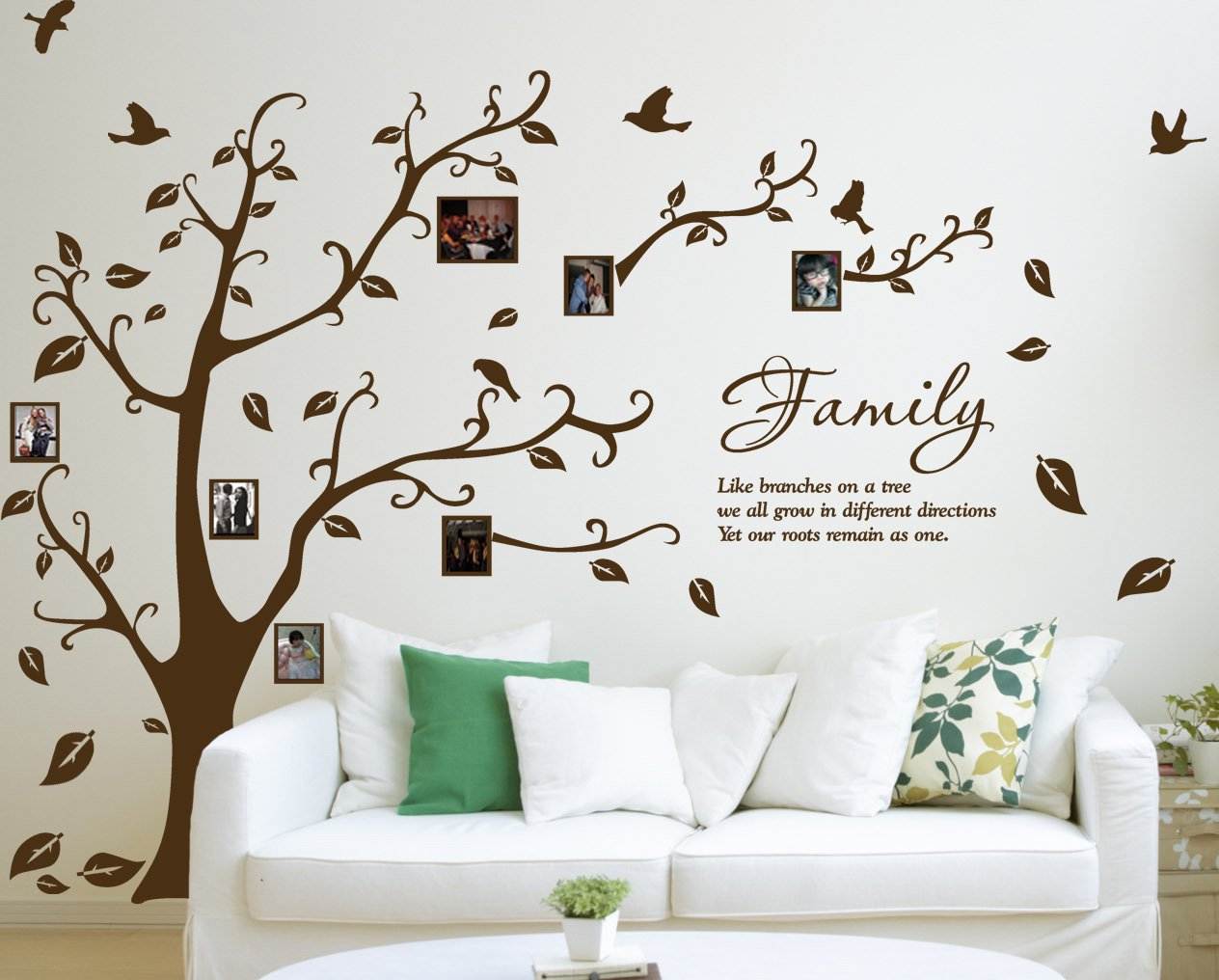 [X Large] Family Photo Tree U0026 Birds Art Vinyl Wall Sticker, DIY Wall Decal