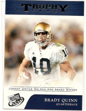 2007 Press Pass Brady Quinn,Trophy Club Winner #70