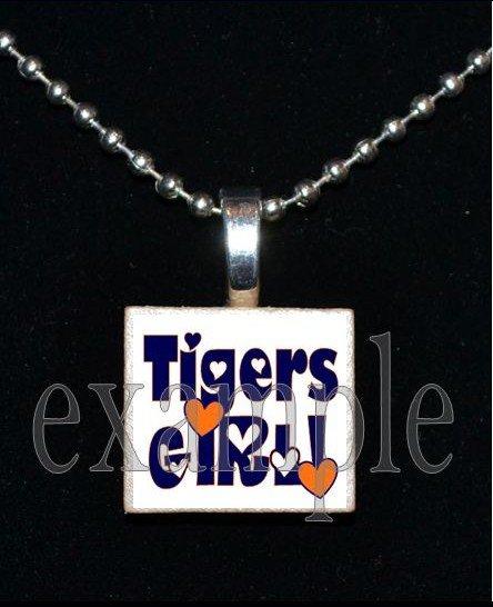 TIGERS GIRL Orange & Navy Mascot Team School Pendant Necklace or Keychain
