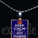 KEEP CALM AND GO TIGERS Orange & Navy Mascot Team Jersey School Pendant Necklace or Keychain