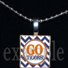GO TIGERS Orange & Navy Mascot Team Jersey School Pendant Necklace or Keychain