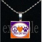 PEACE LOVE TIGERS Orange & Purple Mascot Team Jersey School Pendant Necklace or Keychain