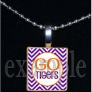 GO TIGERS Orange & Purple Mascot Team Jersey School Pendant Necklace or Keychain