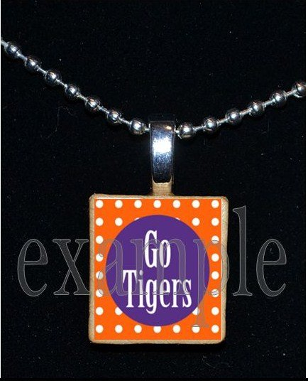 GO TIGERS Orange & Purple Mascot Team School Jersey Pendant Necklace or Keychain