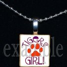 TIGERS GIRL Orange & Purple Mascot Team School Pendant Necklace or Keychain