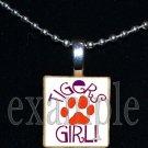 TIGERS GIRL Orange & Purple Mascot Team School Pendant Necklace or Keychain