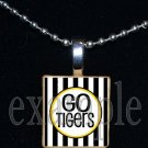 GO TIGERS Black & Gold Mascot Team School Jersey Pendant Necklace or Keychain