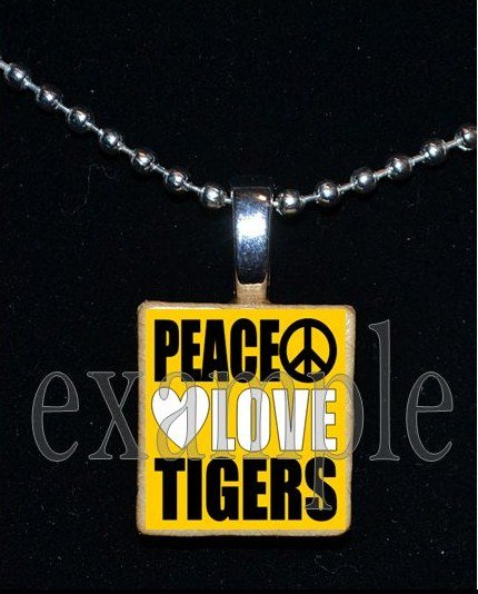 PEACE LOVE TIGERS Black & Gold Mascot Team Jersey School Pendant Necklace or Keychain