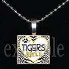 TIGERS GIRL Black & Gold Mascot Team School Pendant Necklace or Keychain