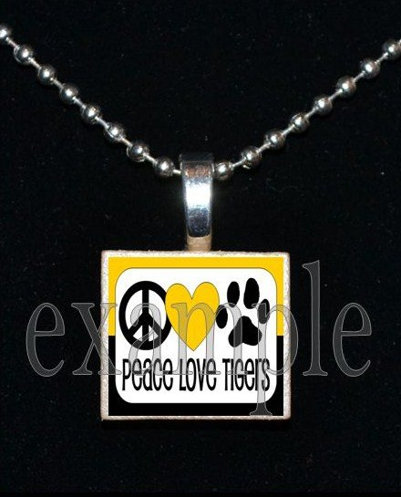 PEACE LOVE TIGERS Black & Gold Mascot Team School Jersey Pendant Necklace or Keychain