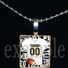 TIGERS PERSONALIZED FOOTBALL JERSEY Black & Gold Mascot Team School Pendant Necklace or Keychain