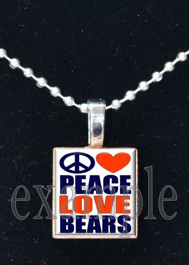 PEACE LOVE BEARS Team Mascot Pendant Necklace or Keychain Choices