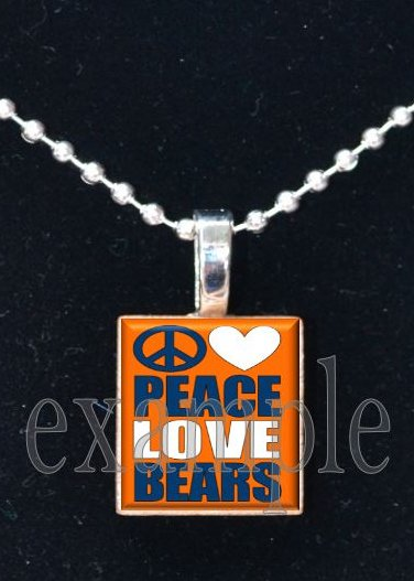 PEACE LOVE BEARS Team Mascot Necklace Pendant or Keychain Choices