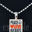 PEACE LOVE BEARS Team Mascot Pendant or Keychain Choices