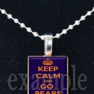 KEEP CALM & GO BEARS Navy Orange White Team Mascot Pendant Choices