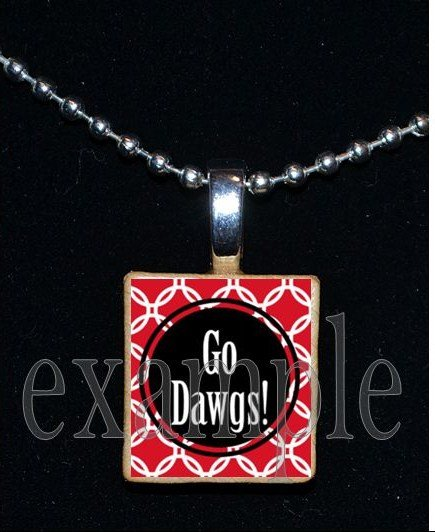 GO DAWGS BULLDOGS Black & Red Team Mascot Pendant Necklace or Keychain