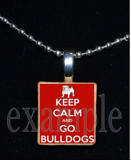 KEEP CALM AND GO BULLDOGS Black & Red Team Mascot Pendant Necklace or Keychain