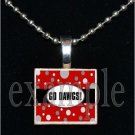 GO DAWS BULLDOGS Black & Red Team Mascot Pendant Necklace or Keychain