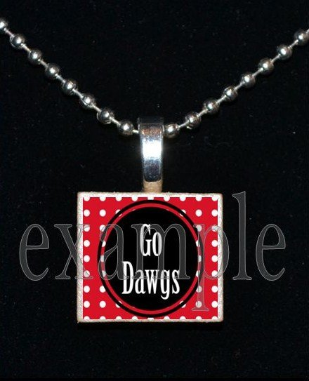 GO DAWGS Black & Red Team Mascot Pendant Necklace or Keychain