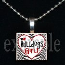 BULLDOGS GIRL Black & Red Team Mascot Pendant Necklace or Keychain
