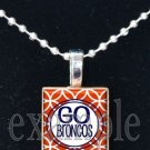GO BRONCOS Navy, White & Orange Team Mascot Pendant Necklace or Keychain