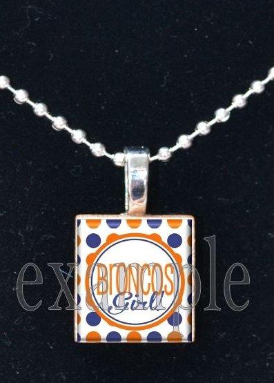 BRONCOS GIRL Navy, White & Orange Team Mascot Pendant Necklace or Keychain