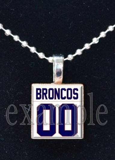 BRONCOS Navy, White & Orange PERSONALIZED JERSEY Team Mascot Pendant Necklace or Keychain