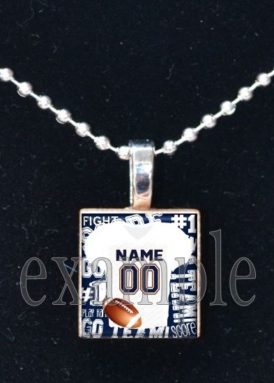 BRONCOS PERSONALIZED FOOTBALL JERSEY Navy, White & Orange Team Mascot Pendant Necklace or Keychain